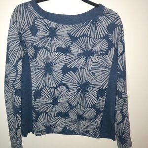 JCrew blue sweater with flowers